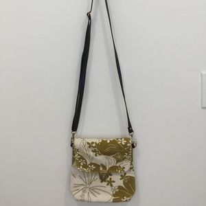 Canvas Flower Print Bag in Mustard